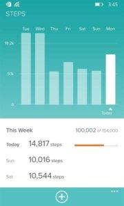 Таблица шагов Fibit app WP