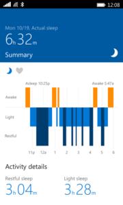 Данные о сне Microsoft Band 2